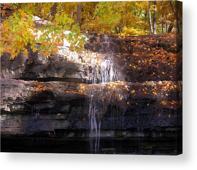 Waterfall Acrylic Print featuring the photograph Waterfall In Creve Coeur by John Lautermilch