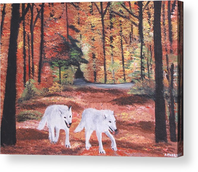 Wolves.wolf Acrylic Print featuring the painting White Wolves Passing Through by Aleta Parks