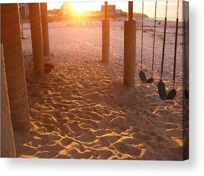 Swings Acrylic Print featuring the photograph Whitehorse Beach - Swings by Nancy Ferrier