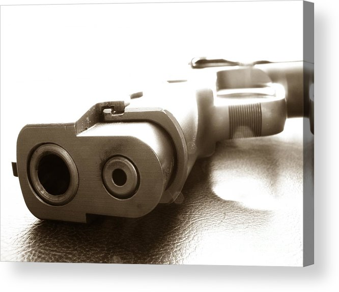 Gun Acrylic Print featuring the photograph Why by Amanda Barcon