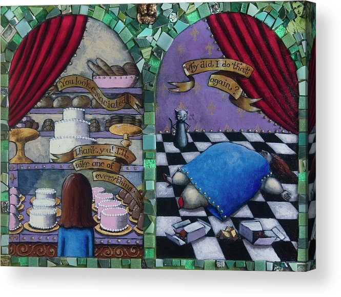 Cakes Acrylic Print featuring the painting Why Did I Do That Again by Pauline Lim