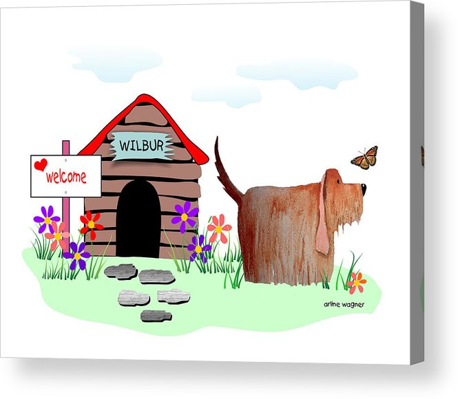 Dog Acrylic Print featuring the digital art Wilbur And The Butterfly by Arline Wagner