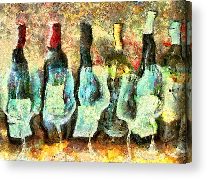 Wine Acrylic Print featuring the mixed media Wine On The Town by Marilyn Sholin