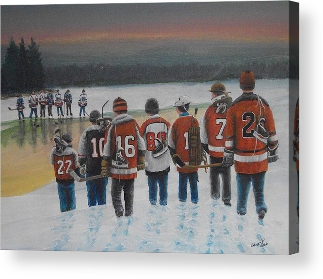 Winter Acrylic Print featuring the painting Winter Classic 2012 by Ron Genest