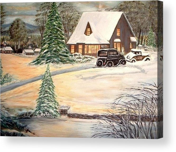 Landscape Home Trees Church Winter Acrylic Print featuring the painting Winter Home by Kenneth LePoidevin