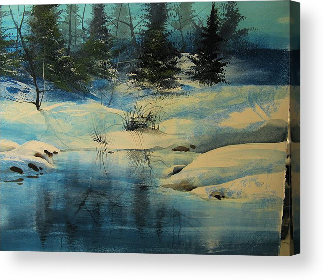 Landscape Acrylic Print featuring the painting Winterscape by Robert Carver