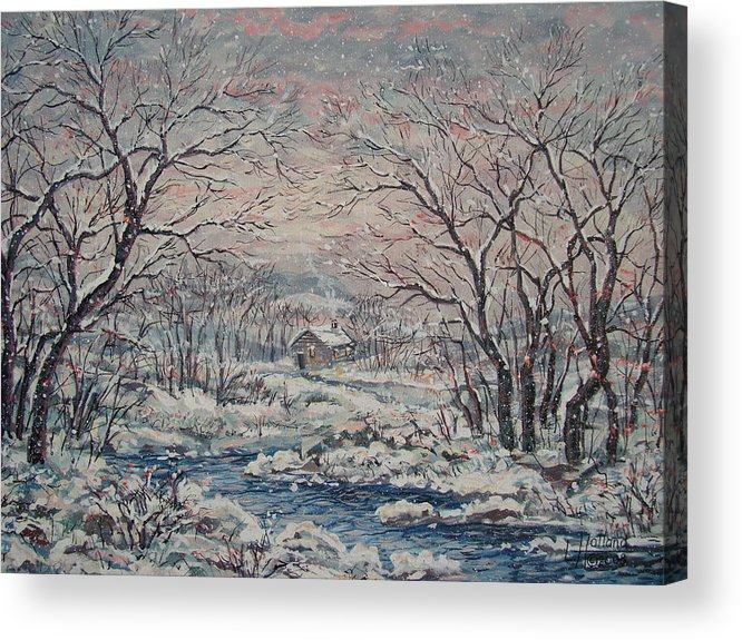 Landscape Acrylic Print featuring the painting Wintery December by Leonard Holland
