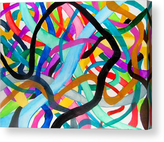 Abstacts Acrylic Print featuring the painting Wires by Katina Cote