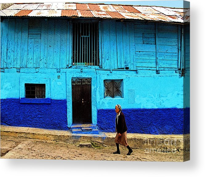 Patzcuaro Acrylic Print featuring the photograph Woman Walking By The Blue House by Mexicolors Art Photography