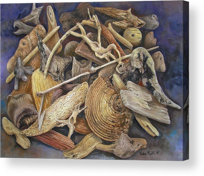 Driftwood Acrylic Print featuring the painting Wood Creatures by Valerie Meotti