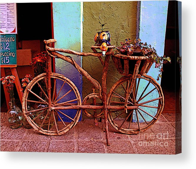 Darian Day Acrylic Print featuring the photograph Wooden Bicycle by Mexicolors Art Photography