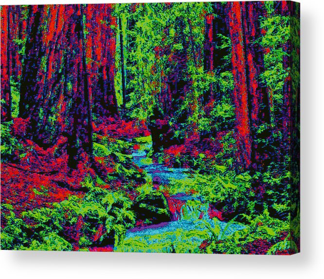 Acrylic Print featuring the digital art Woodland Forest D5b by Modified Image