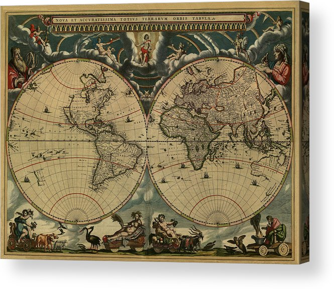 Blaeu World Map.World Map Of 1664 Acrylic Print By Joan Blaeu
