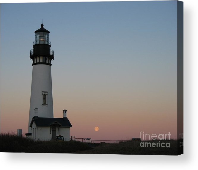 Lighthouse Acrylic Print featuring the photograph Yaquina Head Lighthouse At Dawn by Juli House