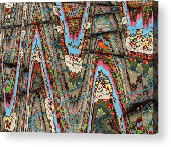 Abstract Acrylic Print featuring the digital art Zigzag 1 by Anne Cameron Cutri