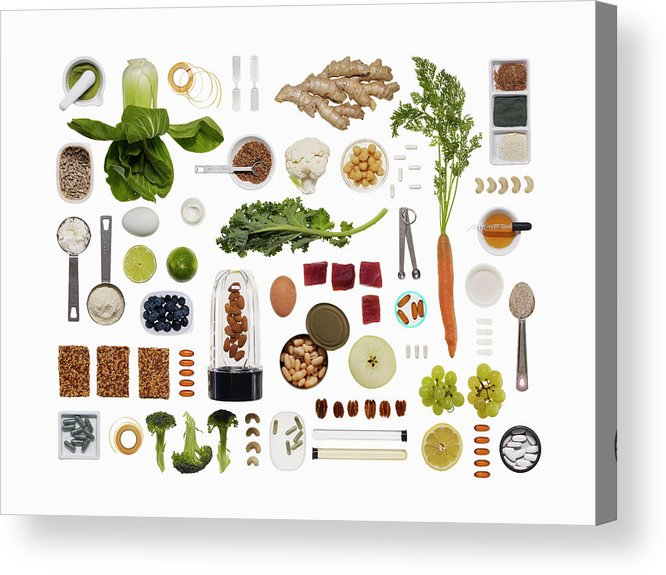 White Background Acrylic Print featuring the photograph A Healthy Diet Food Grid by Dwight Eschliman