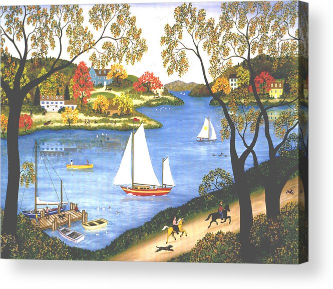Contemporary Fine Art Landscape Acrylic Print featuring the painting Autumn Holiday by Linda Mears