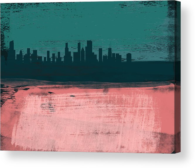 Chicago Acrylic Print featuring the mixed media Chicago Abstract Skyline II by Naxart Studio