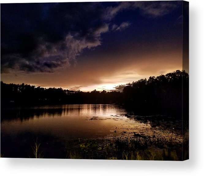 Sunset Acrylic Print featuring the photograph Dark Reflections by Shena Sanders