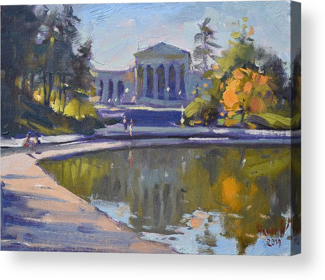 Delaware Park Acrylic Print featuring the painting Delaware Park Buffalo by Ylli Haruni