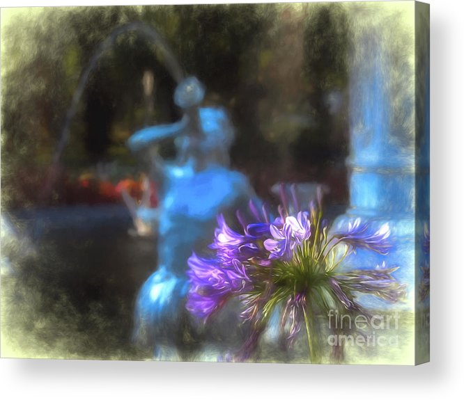 Forsyth Acrylic Print featuring the digital art Expressive Flower And Fountain At Forsyth Park by Amy Dundon
