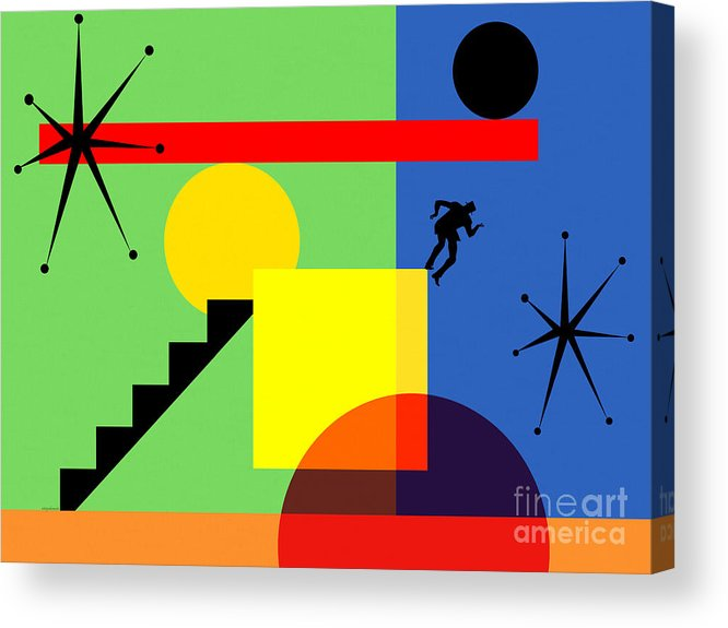 Wingsdomain Acrylic Print featuring the digital art Mid Century Modern Abstract Over The Edge 20190106 Horizontal by Wingsdomain Art and Photography