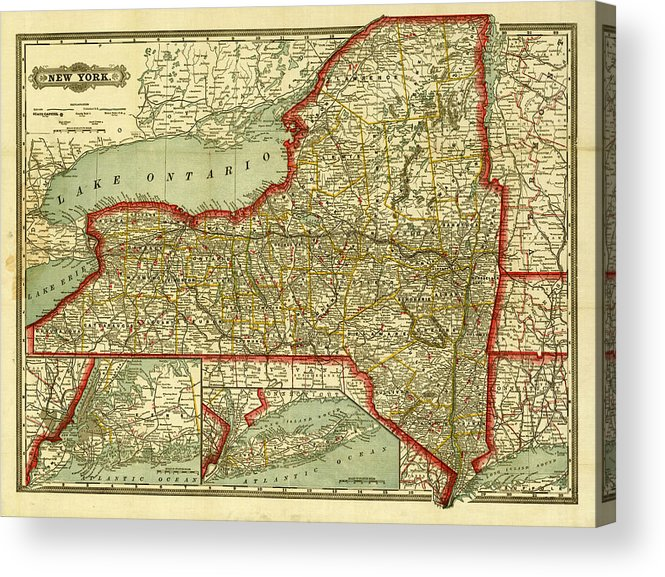 photograph regarding Printable Maps of New York State named Fresh York Nation Outdated Map Acrylic Print