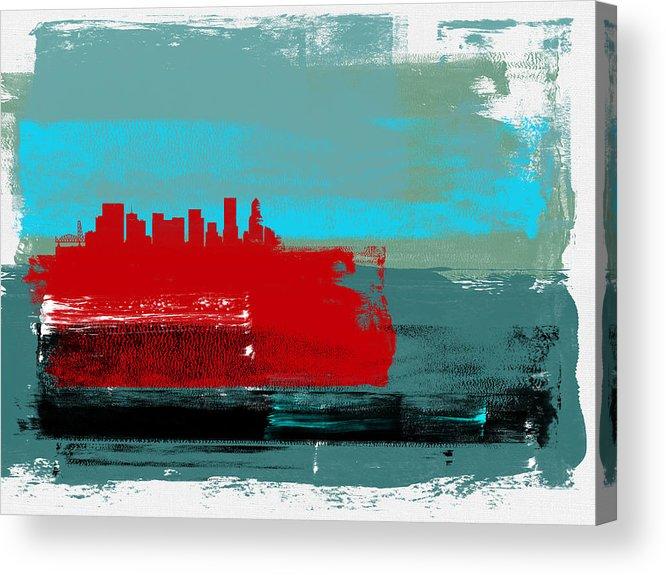 Portland Acrylic Print featuring the mixed media Portland Abstract Skyline I by Naxart Studio
