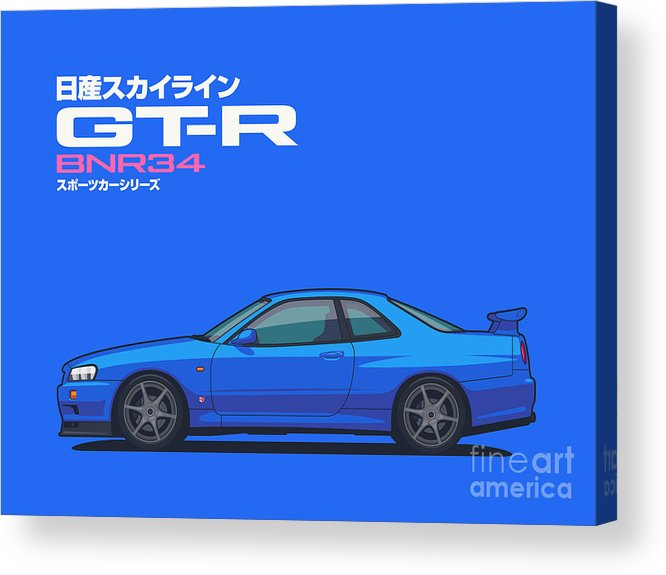 Gt-r Acrylic Print featuring the digital art R34 Gt-r - Landscape Blue by Ivan Krpan
