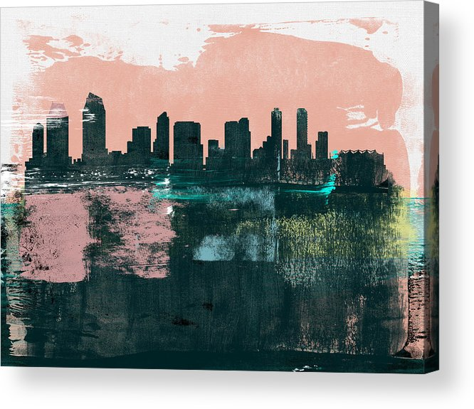 San Diego Acrylic Print featuring the mixed media San Diego Abstract Skyline I by Naxart Studio