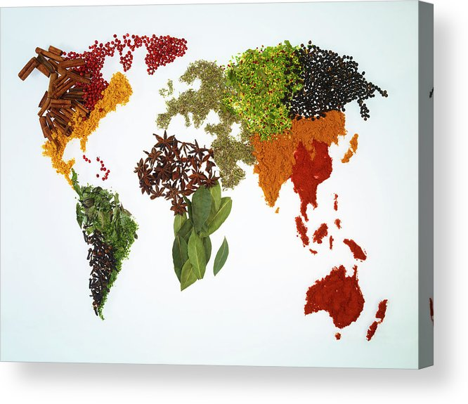 Large Group Of Objects Acrylic Print featuring the photograph World Map With Spices And Herbs by Yamada Taro