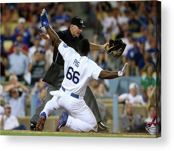 People Acrylic Print featuring the photograph Yasiel Puig by Stephen Dunn