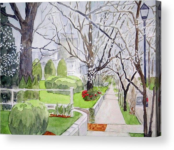 Cityscapes Acrylic Print featuring the painting A Walk Downtown Sold by Larry Wright