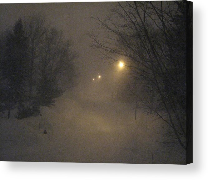 Snow Acrylic Print featuring the photograph Snowy Night by Mary Ellen Mueller Legault
