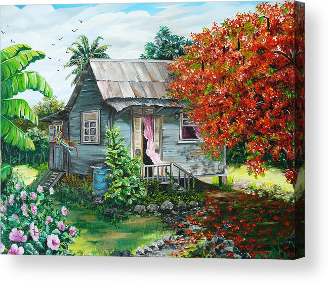 Caribbean Painting Original Painting Trinidad And Tobago ..house Painting Flamboyant Tree Painting Red Blossoms Painting Floral Painting Tree Painting Tropical Painting Acrylic Print featuring the painting Sweet Tobago Life. 2 by Karin Dawn Kelshall- Best