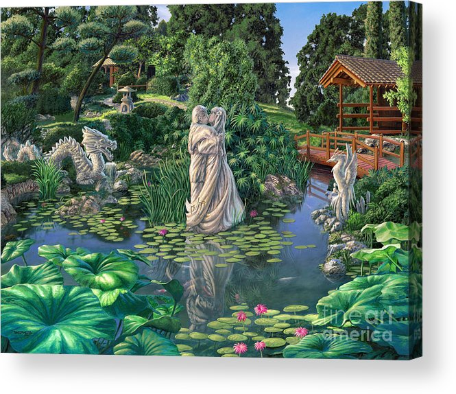 Oriental Garden Acrylic Print featuring the painting The Romance Garden by Stu Shepherd
