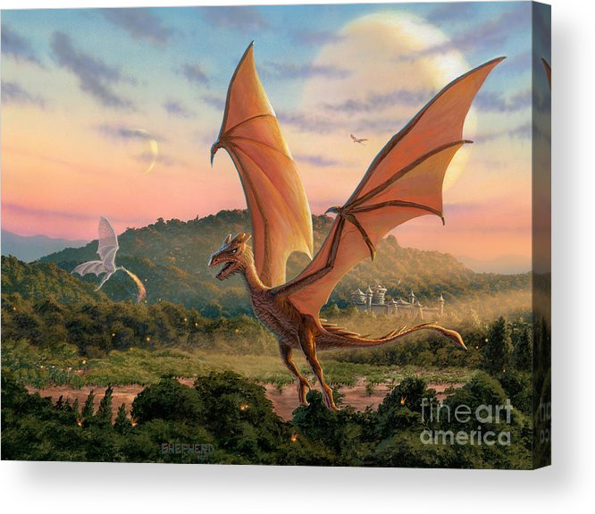 Dragon Acrylic Print featuring the painting The Training Fields by Stu Shepherd