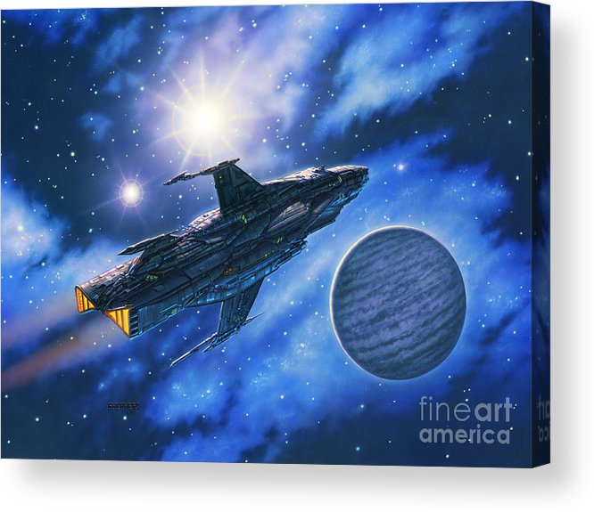 Spaceship Acrylic Print featuring the painting The Verrhawk At Jovox by Stu Shepherd