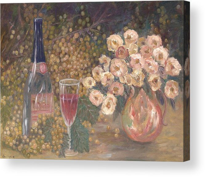 Stilllife; Floral; Wine Acrylic Print featuring the painting Wine And Roses by Ben Kiger