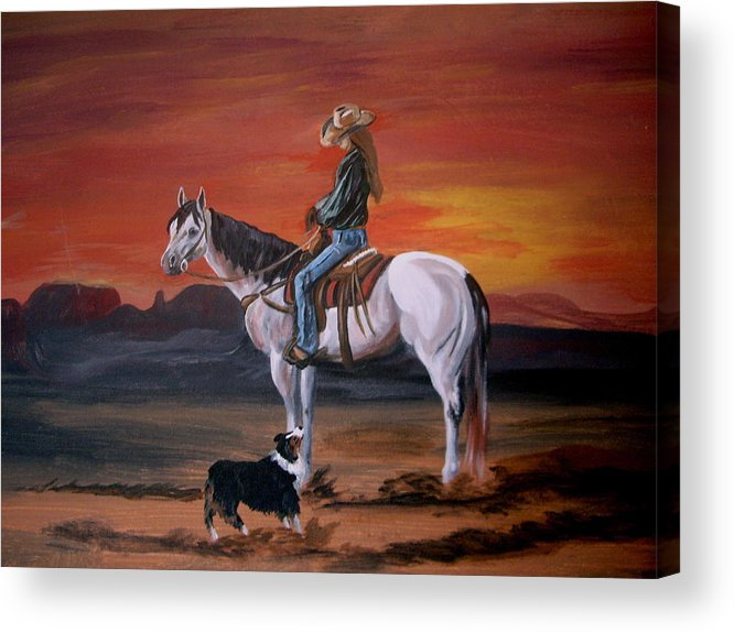 Desert Acrylic Print featuring the painting Friends Sharing A Sunset by Glenda Smith