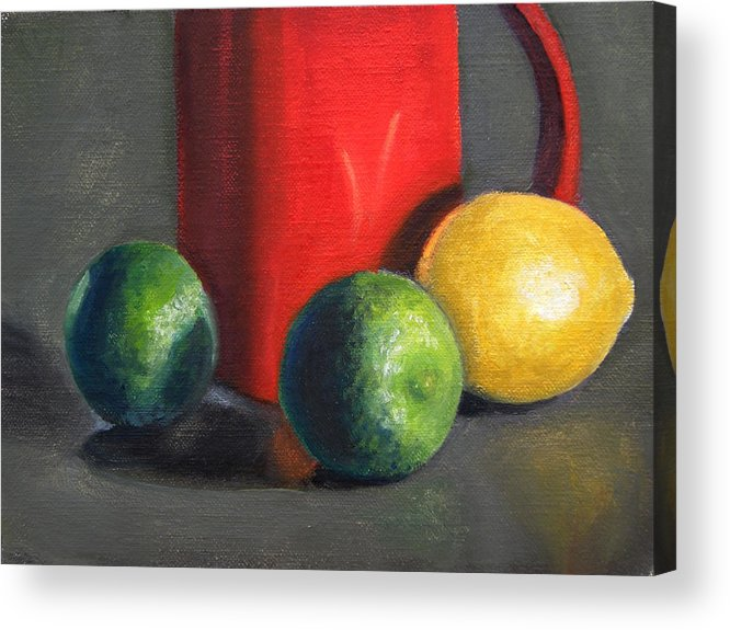 Still Life Acrylic Print featuring the painting Lemon And Limes by Becky Alden