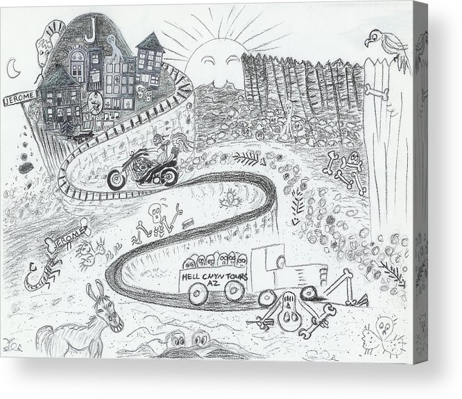 Road Acrylic Print featuring the drawing The Road To Jerome Arizona by Ingrid Szabo