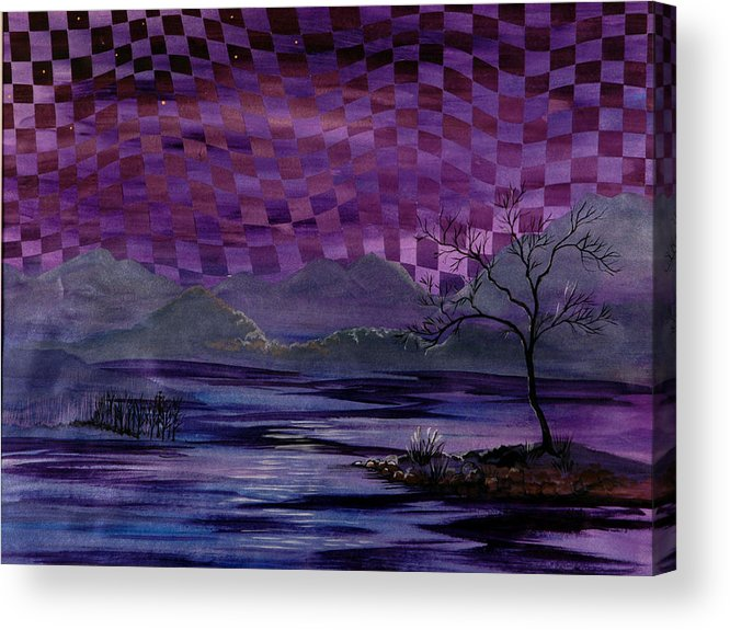 Dusk Acrylic Print featuring the painting Nightscape by Linda L Doucette