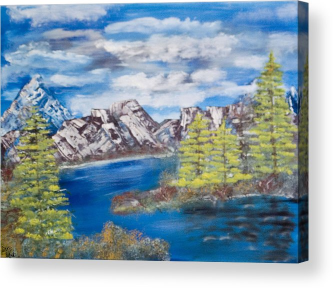 Wooded Landscape Acrylic Print featuring the painting Island Cove by Mikki Alhart