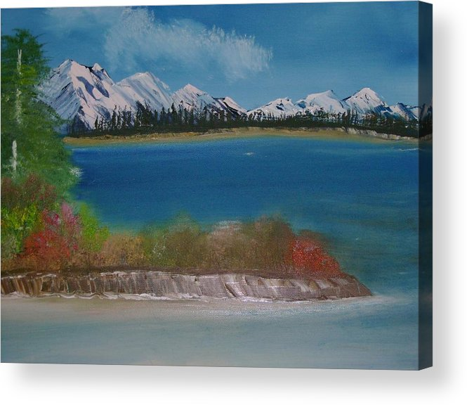 Mountains Acrylic Print featuring the painting Snow Capped Mountains by Dottie Briggs