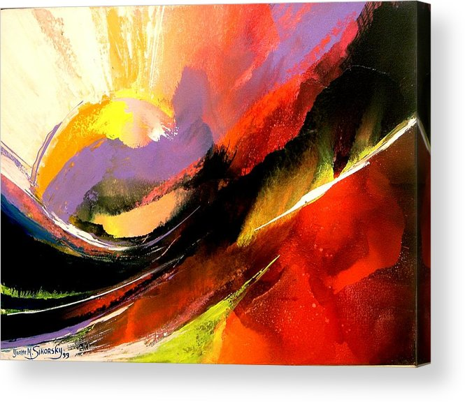 Abstract Acrylic Print featuring the painting Sunset by Yvette Sikorsky