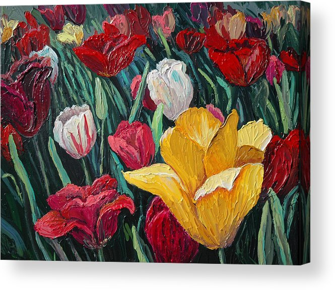 Floral Acrylic Print featuring the painting Tulips by Cathy Fuchs-Holman