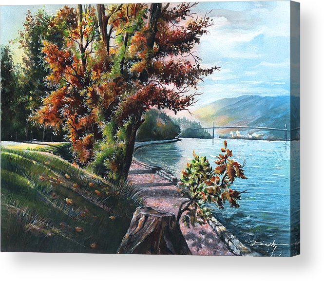 Lanscape Acrylic Print featuring the painting October Visiting Stanley Park Bc by Dumitru Barliga