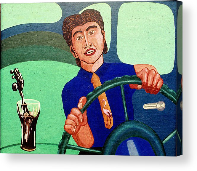 Surreal Fantasy Portraits Acrylic Print featuring the print Man Driving With Coke by Paul Knotter