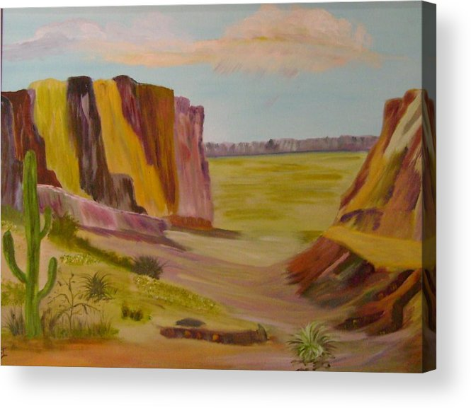 Southwest Acrylic Print featuring the painting Southwest Mountains by Dottie Briggs